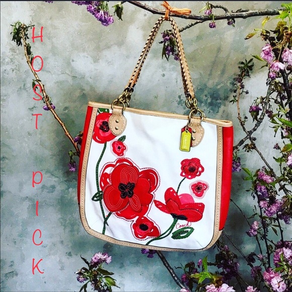 30939942d8 Coach poppy limited edition red appliqué tote bag